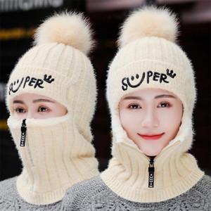 Winter Women Knitted Hats Add Fur Lined Warm Winter Hats For Women With Zipper Keep Face Warmer Balaclava Pompoms Cap