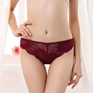 All Lace Women's Panties Sexy Cute Bow Traceless Transparent Underwear Low-Rise Floral Lingerie Female Underpants French Style
