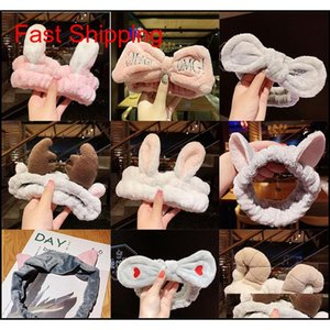 Lindo coral de lana arco animal orejas de la cabeza para las mujeres regalos de las niñas suaves lavado caliente cara de lavado turbante headwea qylkkk beauty888