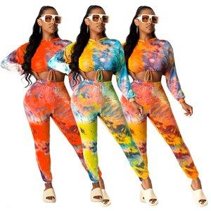 Sportwear Tie Dye Print Women's Set Mini Hoodies Tops Pencil Pants Suit Tracksuit Matching Set Outfit Two Piece Set