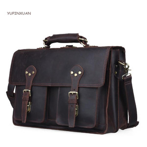 YUPINXUAN Mens Crazy Horse Leather Briefcases Male Work Bags Multifunction Handbags Cowhide Messenger Bag Maletin Hombre Russia