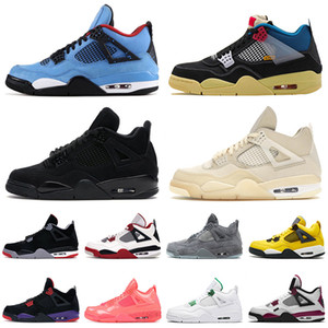 New Quality Basketball Shoes 4 4s Cactus Jack Jumpman Sail White Off Black Cat mens womens KAWS Grey Sport Trainers