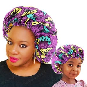2 pcs set Mommy and Me Satin Bonnet Adjustable Double Layer Sleep Cap Parents and Kids African Print Turban Hair Cover Baby Hat