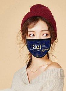FactoryC8VC2021 Face Happy Fashion Respirant Impression réutilisable Masques de coton Célébrez les fournitures du Nouvel An Masque de fête PM2.