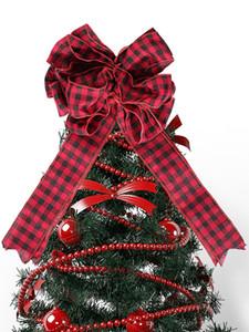 Árvore de Natal Topper Decoração vermelho e preto Buffalo Plaid Toppers Bow interior Hanging Outdoor ornamento JK2011PH
