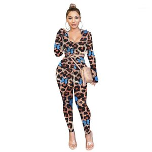 Случайные тонкие брюки из двух частей Sexy Leopard Butterfly Prated Womens Tracksuits Мода с капюшоном в двух частях набор