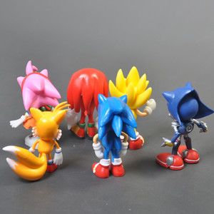 1 Set Retail 6Pcs set Anime Cartoon Sonic The Hedgehog Figure Action Set Doll Toys Free Shipping