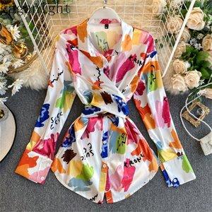غانغانيت زهرة الكورية أزياء المرأة ضمادة بلوزة طويلة الأكمام رفض طوق criss cross قميص مكتب سيدة شيك blusas LJ200811