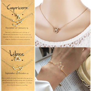 12 Constellation Necklaces Rhinestone Bracelet Sets Constellation Paper Card Jewellery Set Fashionable Gifts for Women Lovers