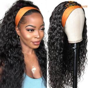 Wave Wave Diadema WIG Peluca de cabello humano Virgen Brasileño Pelucas de cabello humano con diadema Mirada Natural