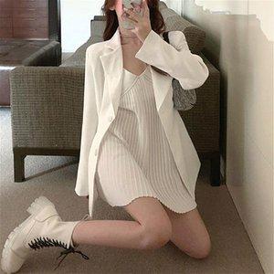 2020 Spaghetti 2 Autumn V-neck Piece Women Strap Mini Dress+casual White Blazers Y2k Set Fashion Suit Party Korean Clothing