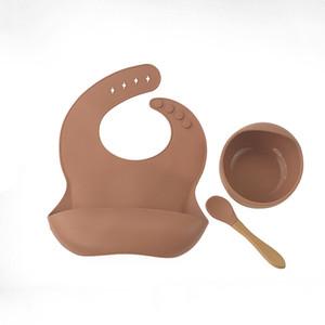 14 Colors Baby Silicone Feeding Bib Bowl Spoon 3 pcs Cartoon Waterproof Food Grade Newborn Apron Adjustable Ins Saliva Towel