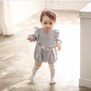 Enkelibb baby girl manica lunga pagliaccetti New Born Baby Ruffle One-Piece Bambini Cute Abbigliamento Stile Coreano Qualità Compente Pagliaccetto 201028