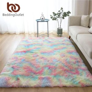 BeddingOutlet Colorful Carpet for Living Room Shaggy Bedside Rug Rainbow Soft Plush Floor Mat Fluffy Bedroom Area Rug Home Decor