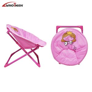 Moon Saucer Camping Chair Portable Folding Round Chair Steel Frame Padded Cushion with Cartoon Pattern Lounge Chair for Kids Z1130