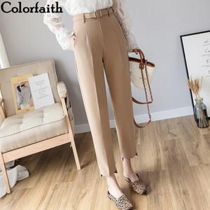 ColorFaith Neue Herbst Winter Frauen Hosen Hohe Taille Lose Formale Elegante Büro Dame Koreanische Stil Knöchellangen Hosen P7110 201031