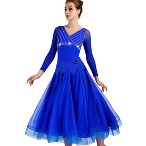 Ballroom Waltz Dresses Dance Competition Dresses Ballroom Dress Standard Customized Size D0547 Long Sleeve Big Sheer Hem