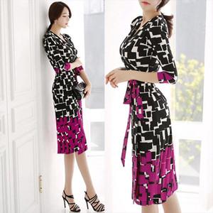 Cinessd ekose elbiseler kadınlar için yaz yarım kollu v boyun polyester kadın gevşek rahat çalışma diz elbiseler artı boyutu