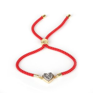 Heart Druzy Stone Connector 12 Types Handmade Braided Red Rope Bracelets for Women Fashion Jewelry Gift Pulseras Mujer