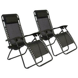 2 chaises longues de gravité zéro pliantes + plateau d'utilité Patio de plage d'extérieur US Oshion
