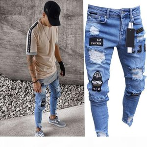 New Mens Skinny jeans Casual Biker Jeans Denim Ripped hiphop Ripped Pants Washed High quality Patched Damaged Jean Slim Fit Streetwear