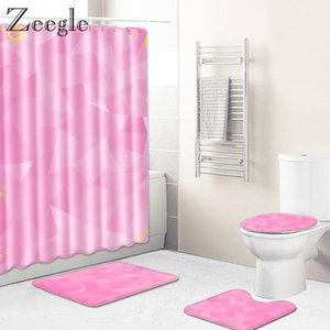 Zeegle 4Pcs Bath Mat Set Toilet Cover Seat Mat Bathroom Doormat Shower Curtain Flannel Toilet Pedestal Rug Bathroom Curtain Set