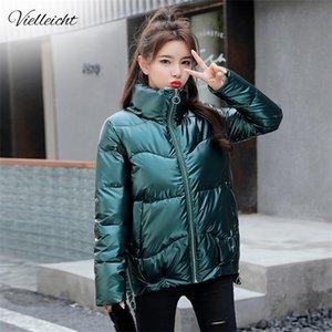 Vielleicht 2020 Autumn Women's Coats Fashion Silver Stand Collar Parkas Winter Jacket Women Pockets Padded Cotton Coat Q1120