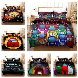 Novo jogo entre nós conjuntos de roupa de cama 3d impressão digital de desenhos animados três capa de colcha pillowcase capa de cama roupa terno conjunto de cama de cobertura de edredão