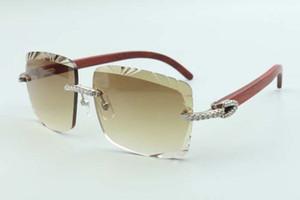 2021 절단 렌즈 미디엄 다이아몬드 선글라스 3524020, 원래 나무 사원 안경, 크기 : 58-18-135mm