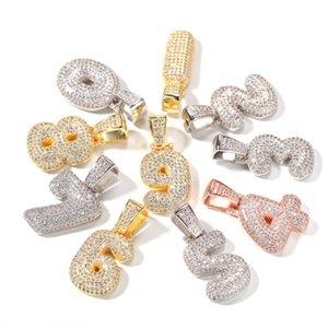 Hip Hop 0-9 Iced Out Numeri personalizzati Collana pendente in oro argento zircone con catena di corda da 24 pollici Ewelry