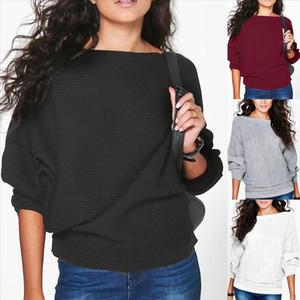 Dress Women Full Sleeve Women Knitting Sweater O Neck Pullover Jumper Bat Sleeve Thread Loose Knit Long Sweater