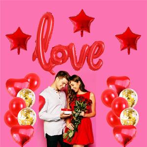 Liebe Ballons Kit Herz Formgeformte Folie Ballon Valentinstag Hochzeit, Brautdusche Dekorationen Partei liefert JK2101XB