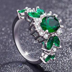 S925 Gümüş Renk Zümrüt Yüzük Takı Kadınlar için Moda Turkuaz Anillos De Bizuteria Gemstone Diamante Peridot Yüzükler Kadınlar