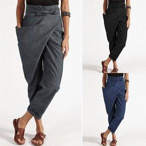 2021 printemps nouveau bureau vintage de dames élégant coréen pantalon noir lâche jeux femmes grands pantalons à vie haute plaine