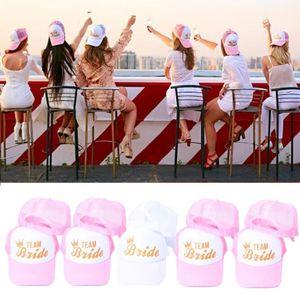 2021 New Women Wedding Shower Cotton Mesh Baseball Cap Team Bride Gold Crown Bachelorette Party Snapback Bridal Trucker Hat Adjustable