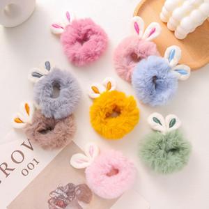Tüylü Tavşan Kulakları Saç Halkası Peluş Kış Sonbahar Aksesuarları Kadın Kadınlar Renkli Kıllar Bağları Güzel 0 88DD N2