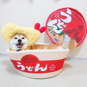Tallarines Copa para mascotas Fideos de fideos Kennel Instantáneos Fideos Cat Nest Tallarines Kennel Instant Ramen Bowl Dog Bed