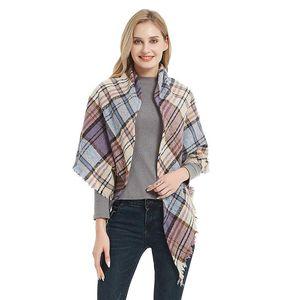 Sparsil Women Knitted Autumn Plaid Scarves Warm Neck Bandana Lady Fashion Triangle Striped Winter Wrap Foulard Shawls
