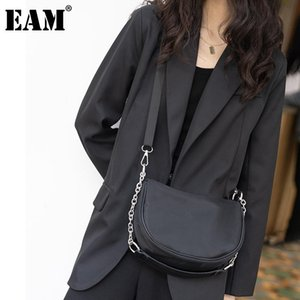 [EAM] Women New Small Metal Chains Pu Leather Personality Fashion All-match Crossbody Shoulder Bag Spring Autumn 2020 18A0123