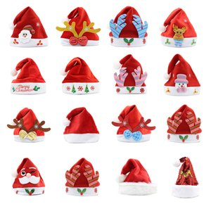 Christmas Hat Soft Plush Santa Red Accessories Decorations Holiday Party Gift New Year Cartoons Non-woven Fabric Adult Kid Child LED GWC3915