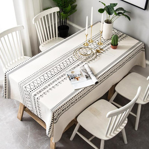 Cotton Linen tablecloth Bohemian black and white table cloth mantel mesa rectangular table cover coffee Kitchen Decro