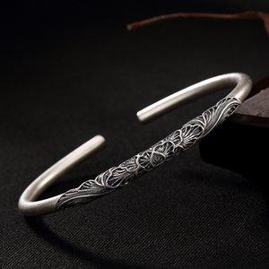 Yiluyin s999 full silver filigree peony flower matte old ladies open solid bracelet bracelet F1201