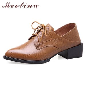 Meotina High Heels Women Shoes Natural Genuine Leather Square Heel Derby Shoes Real Leather Pointed Toe Pumps Female Autumn 4-10