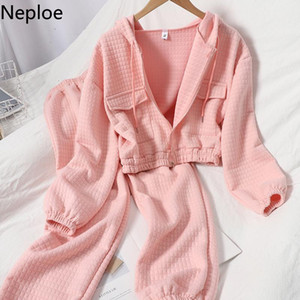 Neploe 2 Piece Outfits for Women Pants and Top Fall Clothes Korean Casual Suit Fashion Tracksuit Femme Roupas Two Piece Set