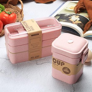 900ml 3 Layer Wheat Straw Lunch Box With Soup cup and bag Bento Boxes Microwave Dinnerware Food Storage Container Lunch box Z1123