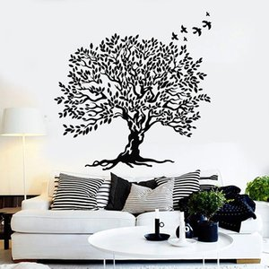 Tree Wall Decal Leaves Branch Beautiful Birds Home Decor for Living Room Bedroom Vinyl Window Stickers Removable Art Mural 1818