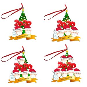 Quarantine Family Face Mask of 2 3 4 5 6 Ornament INS Personalized Christmas Tree Pendents Xmas Party Decoration Gifts DHE1803