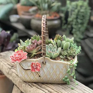 Flower basket portable fleshy flowerpot ceramic creative flower pinching green plant rough pottery pot