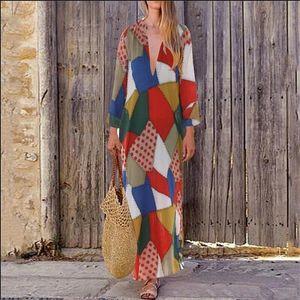 Women Boho Linen Baggy Gypsy Kaftan Holiday Loose Long Maxi Beach Dress Sundress Drop Shipping Good Quality