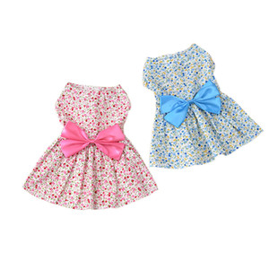 Pets Lovely Dress Butterfly Knot Broken Flower Skirt Ventilation Princess Dresses Dog Clothes Accessories Spring And Summer 6 5md k1